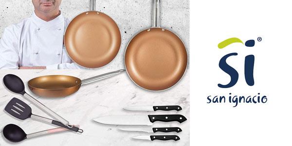 Set de 3 sartens + 4 cuchillos + 3 utensilios San Ignacio Copper Plus al mejor precio en amazon