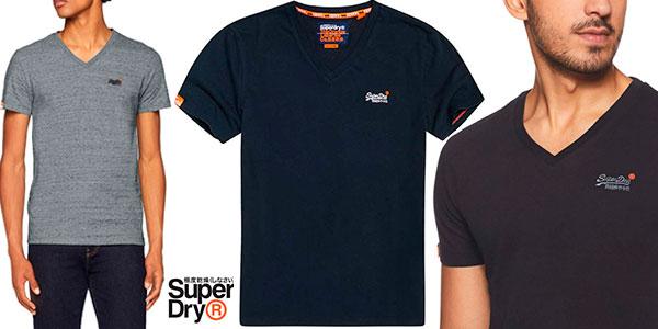 Chollo Camiseta Superdry Vintage Label con cuello en V en varios modelos para hombre