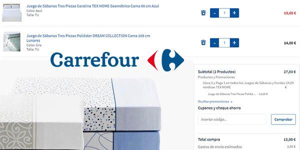 ofertas en sábanas y fundas nórdicas Carrefour 2x1