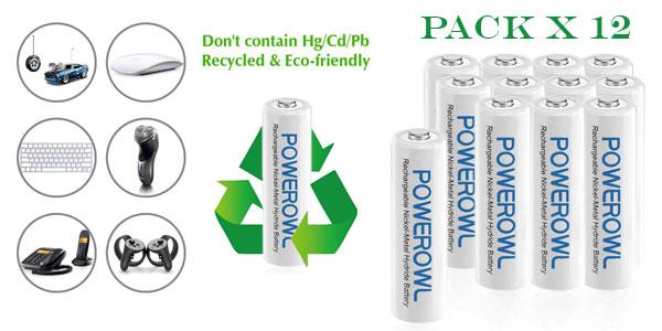 Pack x12 Pilas Recargables AA POWEROWL barato en Amazon