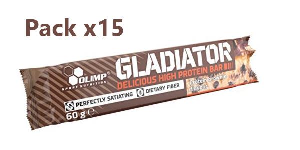 Pack x15 Barritas energéticas Olimp Sport Nutrition Gladiator Bar Brownie barato en Amazon