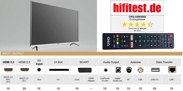 "Smart TV CHiQ U40E6000 UHD 4K HDR de 40"" barata"