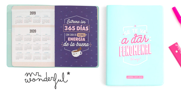 Agenda semanal 2019/20 Mr. Wonderful Se te va a dar fenomenal barata en Amazon