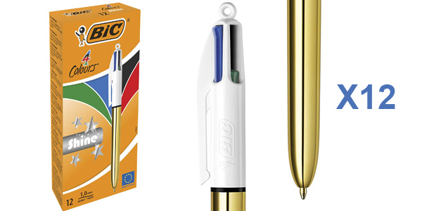 Caja x12 Bolígrafos BIC 4 colores Shine de punta media baratos en Amazon