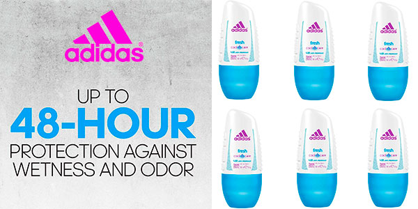 Chollo Pack de desodorante roll-on Adidas Fresh Cool & Care de 50 ml para mujer