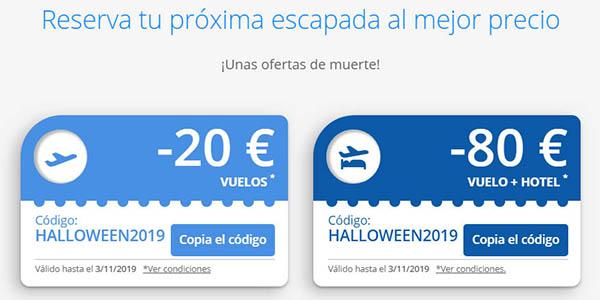 eDreams código descuento en viajes para Halloween 2019