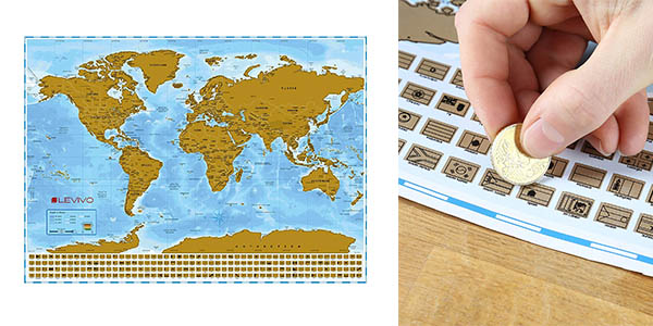 Levivo mapamundi para rascar barato