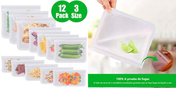 Pack 12 bolsas reutilizables para alimentos a buen precio en Amazon