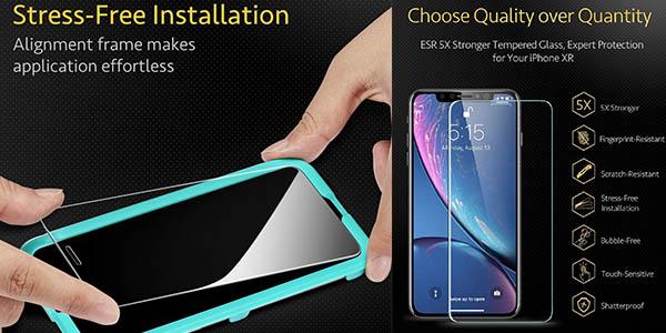 protector de cristal templado iPhone ESR relación calidad-precio estupenda