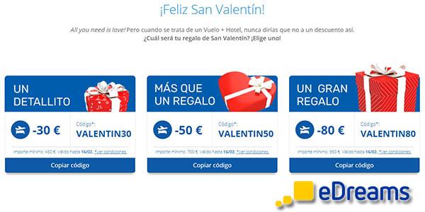 eDreams código descuento San Valentín viajes 2020