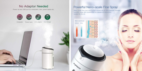 Humidificador ultrasónico Cacagoo de 300 ml y luz LED de 7 colores chollo en Amazon