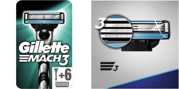 Maquinilla Gillette Mach 3 + 6 cuchillas al mejor precio en Amazon