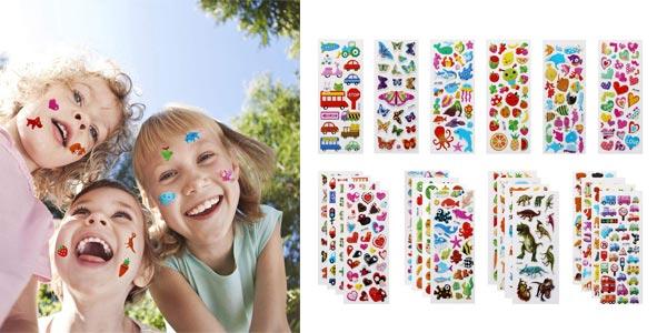 Set de 500 pegatinas 3D de diseños variados para niños barato en Amazon