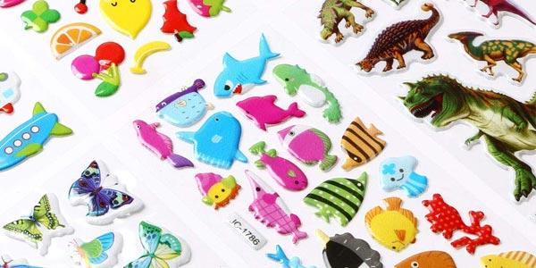 Set de 500 pegatinas 3D de diseños variados para niños chollo en Amazon