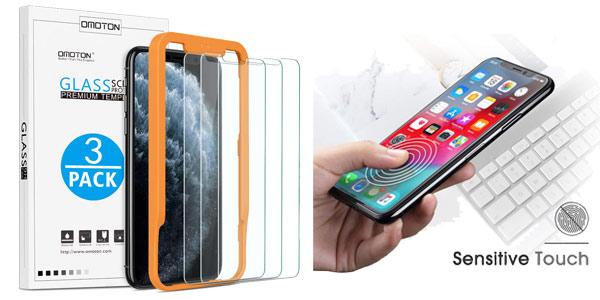 Pack x3 protector pantalla cristal templado iPhone 11 Pro MAX y iPhone XS MAX con guía chollo en Amazon