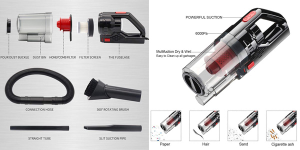 Aspirador de mano portátil Vislone para coche con accesorios chollazo en Amazon