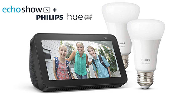 Pack Echo Show 5 + 2 bombillas Philips Hue White