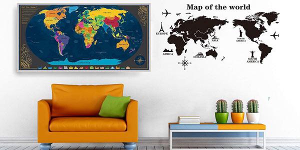 Mapa Mural del Mundo Pootack para rascar barato en Amazon