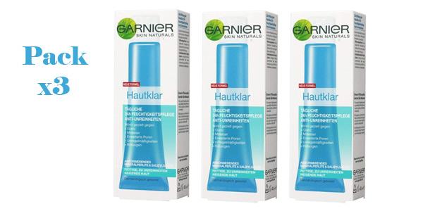 Pack x3 Crema hidratante facial anti-impurezas de Garnier 24 h para pieles grasas barato en Amazon