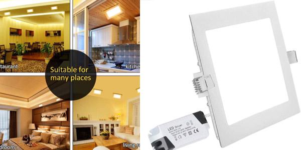 Pack 5x Panel Downlight LED Cuadrado de 18W barato en Amazon