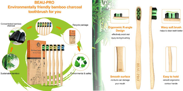 Pack 6 Cepillo Dientes Bambu Beau-Pro chollo en Amazon