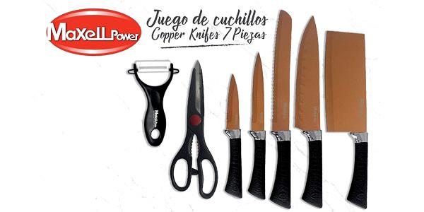 Set 5 Cuchillos MaxellPower +Tijeras +Pelador esmaltados chollo en Amazon