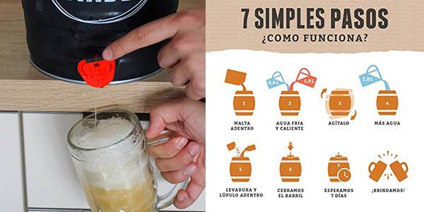 set para elaborar cerveza artesanal Lager BrewBarrel chollo