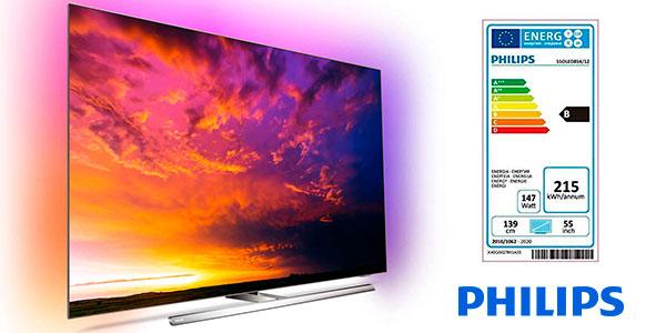 "Smart TV Philips 55OLED854 UHD 4K HDR Ambilight de 55"" con IA barata"