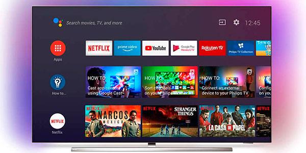 "Smart TV Philips 55OLED854 UHD 4K HDR Ambilight de 55"" con IA en oferta"
