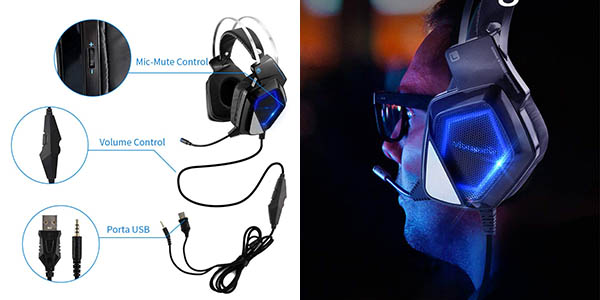 Auriculares gaming Mbuynow para PS4, PC, Xbox One o Switch en Amazon