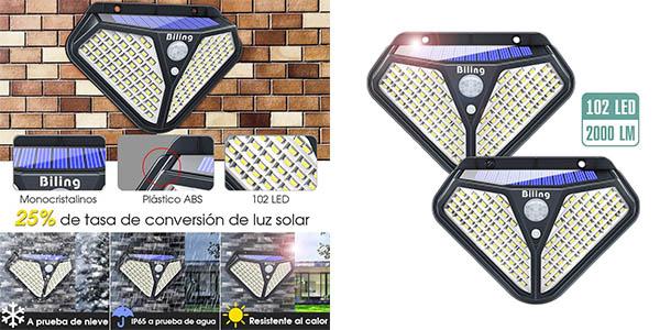 Biling 102 luces LED solares baratas