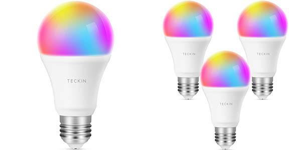 Pack de 4 bombillas inteligentes TECKIN WiFi RGB
