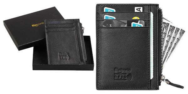 Cartera de piel con monedero Slim Flintronic para tarjetas de crédito barata en Amazon