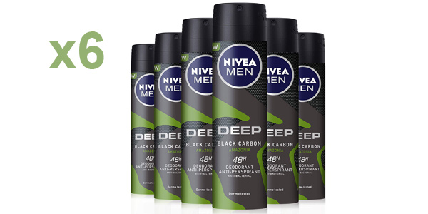 Pack x6 Desodorante NIVEA MEN DEEP Amazonia 150 ml barato en Amazon