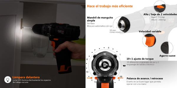 Taladro Atornillador Tacklife PCD01B + accesorios chollo en Amazon