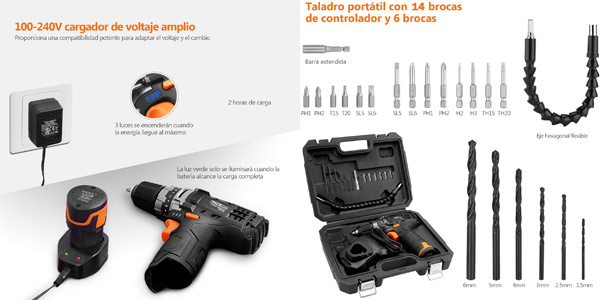 Taladro Atornillador Tacklife PCD01B + accesorios chollazo en Amazon