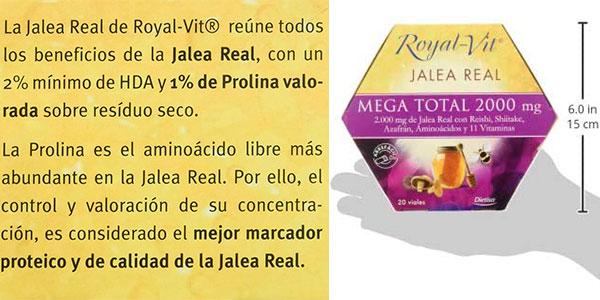 Pack de 20 viales de jalea real Royal-Vit Mega Total 2.000 mg barato