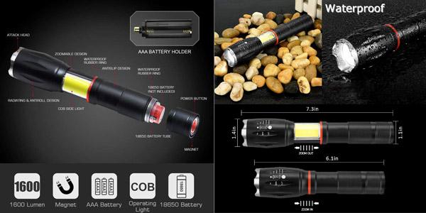 Pack x2 Linternas LED magnéticas con luz de trabajo COB oferta en Amazon