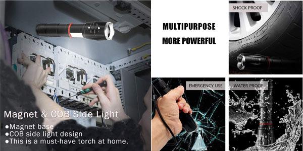 Pack x2 Linternas LED magnéticas con luz de trabajo COB chollo en Amazon