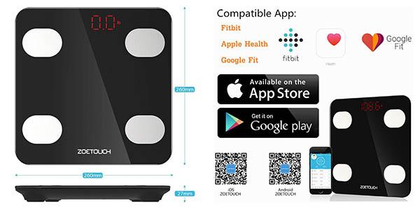 báscula de baño con app móvil precisión Zoetouch a precio de chollo