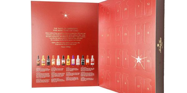 Calendario de Adviento Rojo Anthon Berg con 24 botellas de licor de chocolate chollo en Amazon
