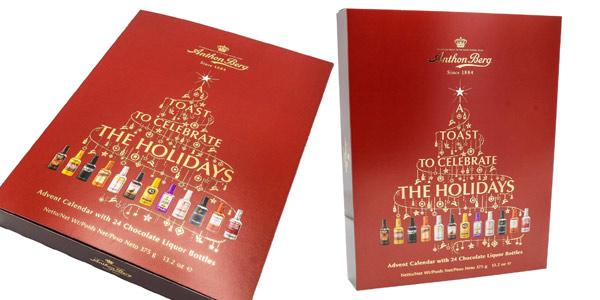 Calendario de Adviento Rojo Anthon Berg con 24 botellas de licor de chocolate barato en Amazon