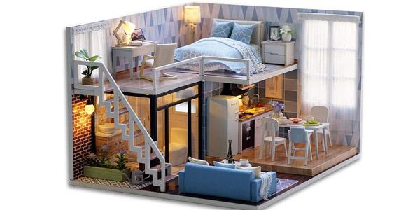 Casa de muñecas Miniatura Cutebee con muebles para montar barata en Amazon