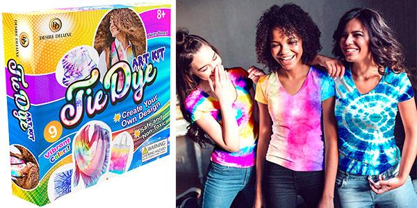 Chollo Kit de tintes Tie Dye de 9 colores para teñir ropa y accesorios