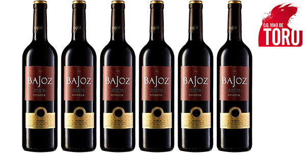 Chollo Pack de 6 botellas de vino tinto Bajoz Crianza con D.O. Toro de 750 ml