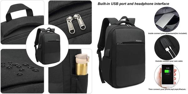 "Mochila antirrobo impermeable para portátil de hasta 15.6"" con puerto USB barata en Amazon"