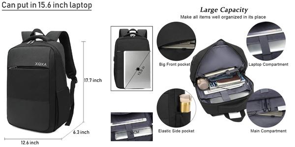 "Mochila antirrobo impermeable para portátil de hasta 15.6"" con puerto USB chollo en Amazon"