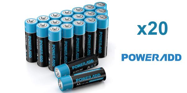 Pack x20 pilas alcalinas Poweradd AA y AAA baratas en Amazon