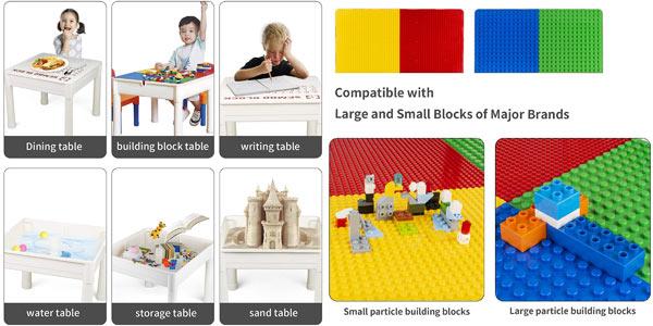 Set infantil de mesa multiusos y 2 sillas Laduo con almacenamiento + 200 bloques LEGO oferta en Amazon
