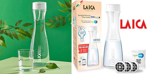 Chollo Botella filtrante Laica de vidrio con 3 filtros